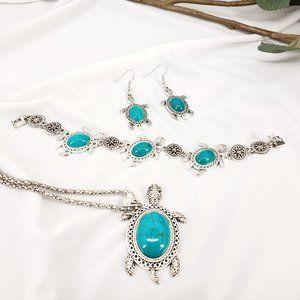 Turquoise Sea Turtle Jewelry Set
